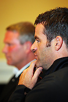 All Whites coach Ricki Herbert and captain Ryan Nelsen at the World Cup Football play-off press conference during the All Whites v Bahrain build-up at Wellington Town Hall , Wellington, New Zealand on Tuesday, 10 November 2009. Photo: Dave Lintott / lintottphoto.co.nz