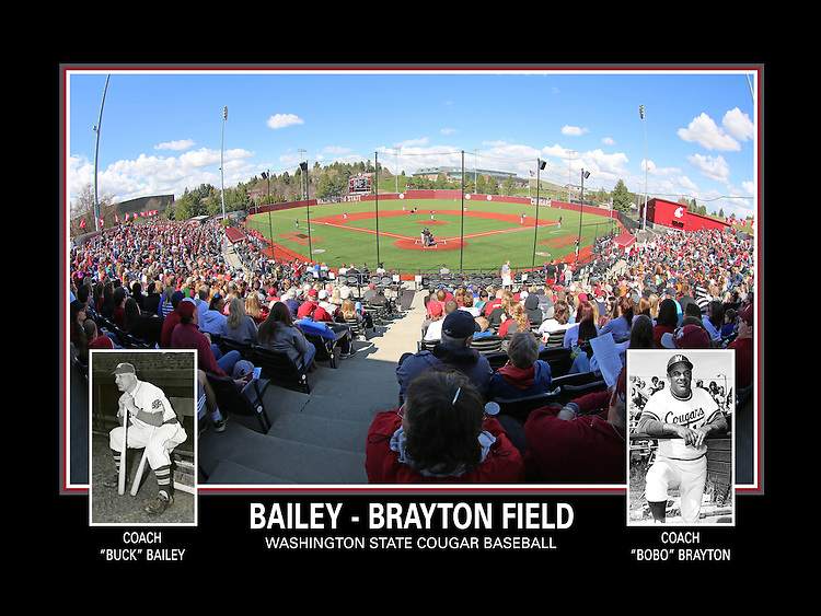 A fisheye view of Bailey-Brayton Field, the home of the Washington State Cougar baseball team, on the campus of Washington State University in Pullman, Washington.