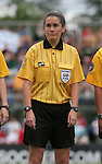 26 August 2007: Referee Rachel Woo. The Washington Freedom played the Connecticut Sun in the Hall of Fame Game as part of the National Soccer Hall of Fame Induction Weekend at the National Soccer Hall of Fame in Oneonta, New York.