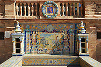 The Badajoz alcove along the walls of the Plaza de Espana in Seville built in 1928 for the Ibero-American Exposition of 1929, Seville Spain