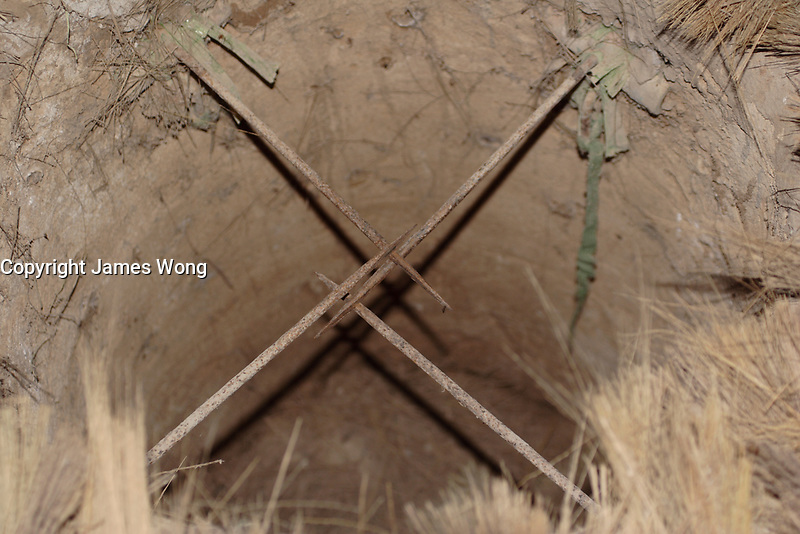 Ho Chi Minh city<br /> , Vietnam - 2007 File Photo -<br /> <br /> <br />  Ground Spike boobie trap on display at Cu Chi tunnels.   	<br /> <br /> <br /> <br /> photo : James Wong-  Images Distribution