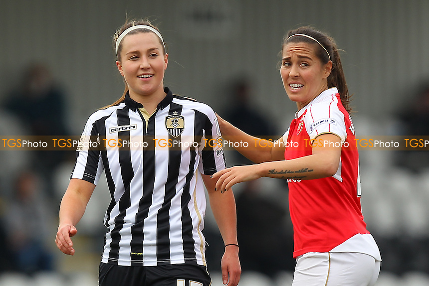 Amy Turner of Notts County and Fara Williams of Arsenal during Arsenal Ladies vs Notts County Ladies, SSE Women's FA Cup Football at Meadow Park on 3rd April 2016