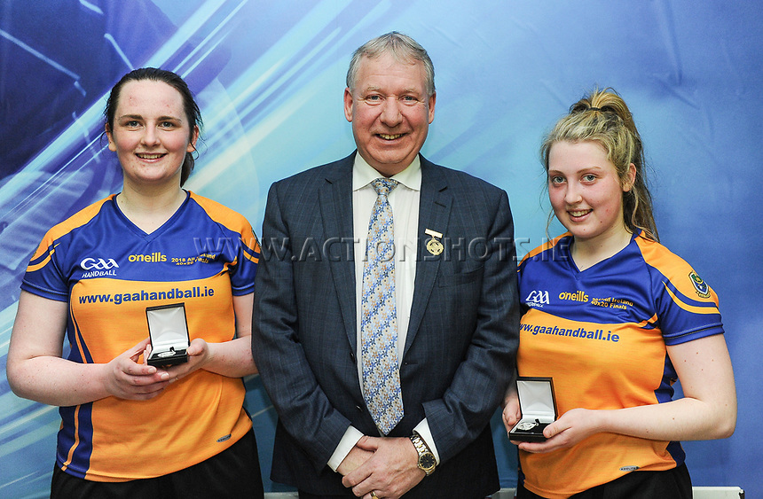 07/04/2018; GAA Handball O&rsquo;Neills 40x20 Championship Ladies Senior Final - Cork (Catriona Casey/Aisling O&rsquo;Keeffe) v Roscommon (Fiona Tully/Leona Doolin); Kingscourt, Co Cavan;<br /> Runners up Fiona Tully and Leona Doolin with GAA Handball President Joe Masterson<br /> Photo Credit: actionshots.ie/Tommy Grealy