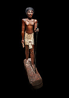 Ancient Egyptian wooden statue of Wepwawetemhat, Middle Kingdom, 12th Dynasty, (1939-1875 BC), Asyut, Tomb of Minhotep. Egyptian Museum, Turin. Cat 8786. black background