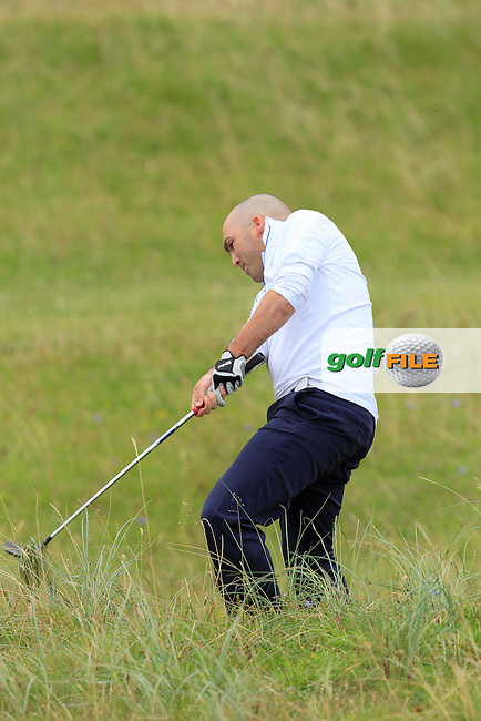 Ed Hickey (Shannon) on the 1st during Round 1 of The South of Ireland in Lahinch Golf Club on Saturday 26th July 2014.<br /> Picture:  Thos Caffrey / www.golffile.ie