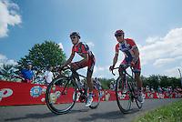 teammates Greg Van Avermaet (BEL/BMC) &amp; Thor Hushovd (NOR/BMC) up le &quot;Petit Poggio&quot; <br /> <br /> 2014 Belgium Tour<br /> stage 4: Lacs de l'Eau d'Heure - Lacs de l'Eau d'Heure (178km)