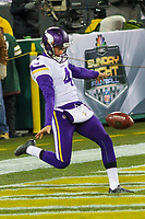 Minnesota Vikings punter Ryan Quigley (4) during a National Football League game against the Green Bay Packers on December 23rd, 2017 at Lambeau Field in Green Bay, Wisconsin. Minnesota defeated Green Bay 16-0. (Brad Krause/Krause Sports Photography)