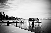 Black & White Boat House over a wintry Lake Tahoe