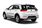 Car pictures of rear three quarter view of a 2017 KIA Niro LX PHEV 5 Door Hatchback angular rear