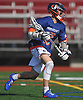 Louis Perfetto #8 of Manhasset carries behind the net during the 133rd Woodstick Classic against host Garden City High School on Saturday, April 28, 2018. He assisted on the game-winning goal midway through the fourth quarter in Manhasset's 7-4 victory.