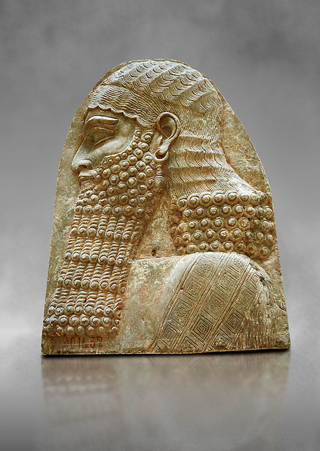 Stone relief sculptured panel fragment of a Dignitary. Inv AO 1432 from Dur Sharrukin the palace of Assyrian king Sargon II at Khorsabad, 713-706 BC.  Louvre Museum Room 4 , Paris
