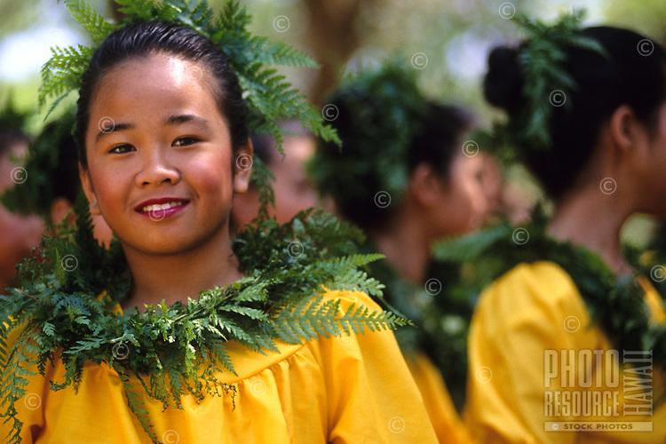 "Keiki (child) hula dancer at ""Ka Hula Piko"" (festival), Moloka'i, Hawaii"