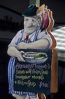 Océanie/Australie/Australie Méridionale/Hahndorf : Enseigne porte-menu d'un charcutier-traiteur