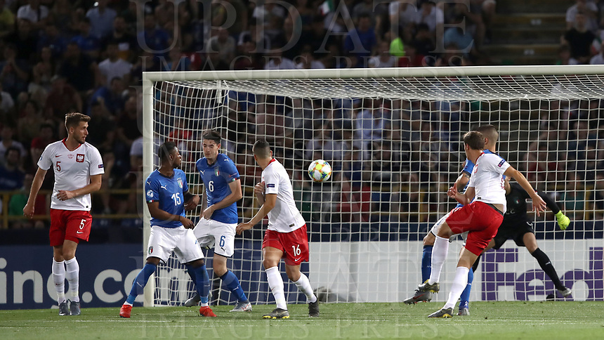 Football: Uefa under 21 Championship 2019, Italy -Poland, Renato Dall'Ara stadium Bologna Italy on June19, 2019.<br /> Poland's Krystian Bielik (r) scores during the Uefa under 21 Championship 2019 football match between Italy and Poland at Renato Dall'Ara stadium in Bologna, Italy on June19, 2019.<br /> UPDATE IMAGES PRESS/Isabella Bonotto