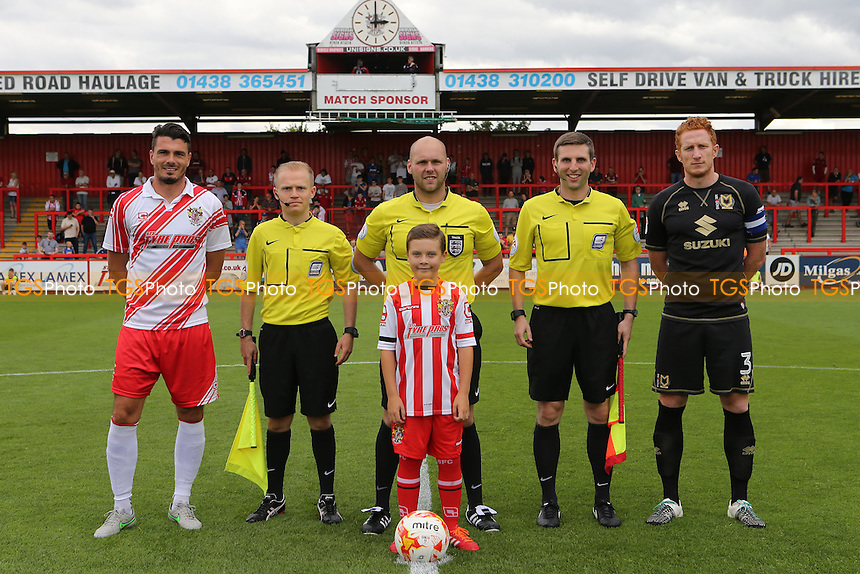 The Stevenage mascot with the two captains and match officials during Stevenage vs MK Dons, Friendly Match Football at the Lamex Stadium on 30th July 2016