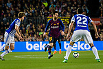 Lionel Messi of FC Barcelona (C) in action during the La Liga match between Barcelona and Real Sociedad at Camp Nou on May 20, 2018 in Barcelona, Spain. Photo by Vicens Gimenez / Power Sport Images