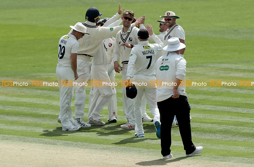 Ollie Rayner of Kent celebrates taking the wicket of Mohammed Amir during Kent CCC vs Essex CCC, Specsavers County Championship Division 1 Cricket at the St Lawrence Ground on 20th August 2019