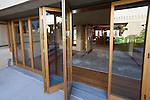 Reproductions of the original folding glass doors at Frank Lloyd Wright's Hollyhock House in Barnsdall Art Park, Hollywood, Los Angeles, CA