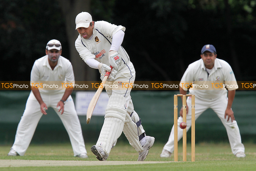 F Shah in batting action for Loughton - Ilford CC (fielding) vs Loughton CC - Essex Cricket League - 06/08/11 - MANDATORY CREDIT: Gavin Ellis/TGSPHOTO - Self billing applies where appropriate - 0845 094 6026 - contact@tgsphoto.co.uk - NO UNPAID USE.