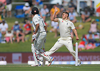 England's Sam Curran bowls during day two of the international cricket 1st test match between NZ Black Caps and England at Bay Oval in Mount Maunganui, New Zealand on Friday, 22 November 2019. Photo: Dave Lintott / lintottphoto.co.nz