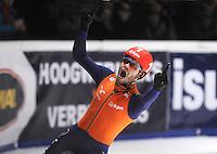 SHORTTRACK: DORDRECHT: Sportboulevard Dordrecht, 25-01-2015, ISU EK Shorttrack, 1000m Men Finale A, Winnaar Sjinkie KNEGT (NED   #1), ©foto Martin de Jong