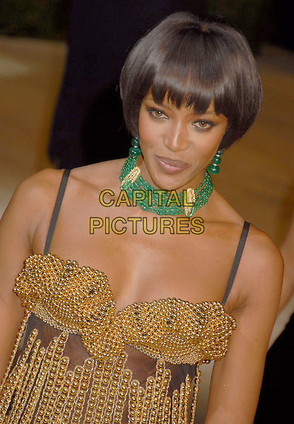 NAOMI CAMPBELL.The 2007 Vanity Fair Oscar Party Hosted by Graydon Carter held at Morton's, West Hollywood, California, USA, 25 February 2007..oscars half length gold and black beaded dress green choker necklace.CAP/ADM/GB.©Gary Boas/AdMedia/Capital Pictures.