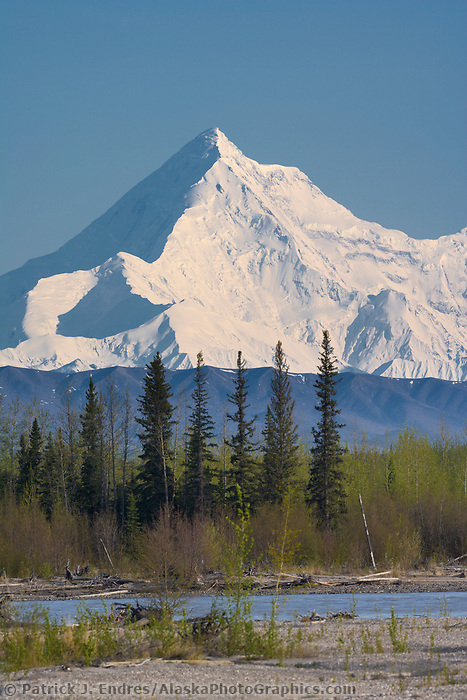 Mount Hayes of the Alaska Range in Alaska's interior. Tanana river in the foreground.