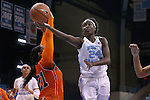 17 November 2015: North Carolina's Destinee Walker (24) gets past Florida A&M's Olivia Antilla (21). The University of North Carolina Tar Heels hosted the Florida A&M University Rattlers at Carmichael Arena in Chapel Hill, North Carolina in a 2015-16 NCAA Division I Women's Basketball game. UNC won the game 94-58.