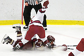 Kelsey Romatoski (Harvard - 5), Caitlin Walsh (BC - 11) - The Harvard University Crimson defeated the Boston College Eagles 5-0 in their Beanpot semi-final game on Tuesday, February 2, 2010 at the Bright Hockey Center in Cambridge, Massachusetts.