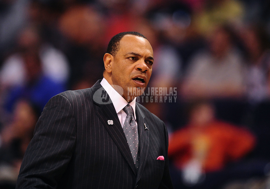 Jan. 28, 2012; Phoenix, AZ, USA; Memphis Grizzlies head coach Lionel Hollins against the Phoenix Suns at the US Airways Center. The Suns defeated the Grizzlies 86-84. Mandatory Credit: Mark J. Rebilas-USA TODAY Sports