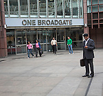 One Broadgate, Sihk businessman in suit, Broadgate Circus, City of London, England
