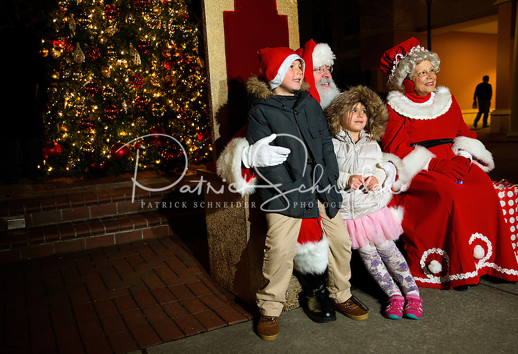 Charlotte Christmas Events - Photography of the Phillips Place Winter Wonderland Christmas event in Charlotte, North Carolina.<br /> <br /> Santa Claus and Mrs. Claus posing for Christmas Holiday photos at Charlotte holiday event.<br /> <br /> Charlotte Photographer - PatrickSchneiderPhoto.com
