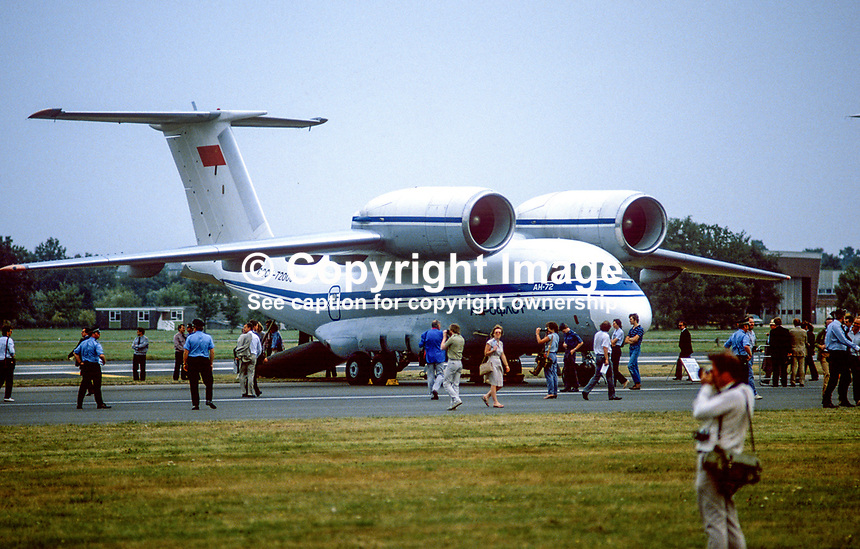 Antonov AN-72 Russian-built freighter aircraft at Farnborough Air Show, UK, 19840115AN72.<br /> <br /> Copyright Image from Victor Patterson, 54 Dorchester Park, <br /> Belfast, UK, BT9 6RJ<br /> <br /> t1: +44 28 9066 1296 (from Rep of Ireland 048 9066 1296)<br /> t2: +44 28 9002 2446 (from Rep of Ireland 048 9002 2446)<br /> m: +44 7802 353836<br /> <br /> e1: victorpatterson@me.com<br /> e2: victorpatterson@gmail.com<br /> www.victorpatterson.com<br /> <br /> Please see my Terms and Conditions of Use at www.victorpatterson.com. It is IMPORTANT that you familiarise yourself with them.<br /> <br /> Images used on the Internet must be visibly watermarked i.e. &copy; Victor Patterson<br /> within the body of the image and copyright metadata must not be deleted. Images <br /> used on the Internet have a size restriction of 4kbs and will be chargeable at current<br />  NUJ rates unless agreed otherwise.<br /> <br /> This image is only available for the use of the download recipient i.e. television station, newspaper, magazine, book publisher, etc, and must not be passed on to any third <br /> party. It is also downloaded on condition that each and every usage is notified within 7 days to victorpatterson@me.com<br /> <br /> The right of Victor Patterson to be identified as the author is asserted in accordance with The Copyright Designs And Patents Act (1988).