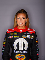 Feb 7, 2018; Pomona, CA, USA; NHRA top fuel driver Leah Pritchett poses for a portrait during media day at Auto Club Raceway at Pomona. Mandatory Credit: Mark J. Rebilas-USA TODAY Sports