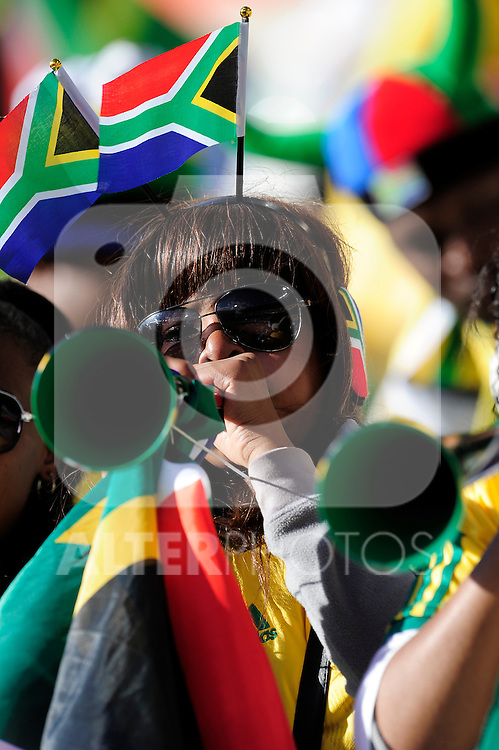 Fans getting into the mood before the 2010 World Cup Soccer match between South Africa and France played at the Freestate Stadium in Bloemfontein South Africa on 22 June 2010.