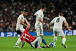 Real Madrid's (L-R) Carlos Henrique Casemiro, Lucas Vazquez and Toni Kroos and FC Viktoria Plzen's Milan Petrzela during UEFA Champions League match between Real Madrid and FC Viktoria Plzen at Santiago Bernabeu Stadium in Madrid, Spain. October 23, 2018. (ALTERPHOTOS/A. Perez Meca)
