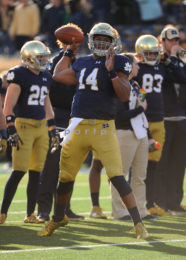 Notre Dame Fighting Irish DeShone Kizer (14) during a game against the Wake Forest Demon Deacons on November 14, 2015 at Notre Dame Stadium in Notre Dame, IN. Notre Dame beat Wake Forest 28-7.