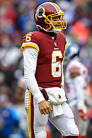 Landover, MD - December 9, 2018: Washington Redskins quarterback Mark Sanchez (6) after throwing his second interception of the day during game between the New York Giants and Washington Redskins at FedEx Field in Landover, MD. The Giants defeated the Redskins 40-16 dropping the Redskins to 6-7 on the season. (Photo by Phillip Peters/Media Images International)