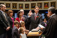 TALLAHASSEE, FLA. 11/18/14-ORGSESS111814CH-Senate President Andy Gardiner, R-Orlando, is joined by his family takes the oath of office during the Organizational Session of the legislature, Nov. 18, 2014 at the Capitol in Tallahassee.<br /> <br /> COLIN HACKLEY PHOTO