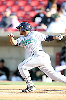 April 17 2010: Luis Jimenez of the Cedar Rapids Kernels at Elfstrom Stadium in Geneva, IL. The Kernels are the Low A affiliate of the Los Angeles Angels. Photo by: Chris Proctor/Four Seam Images