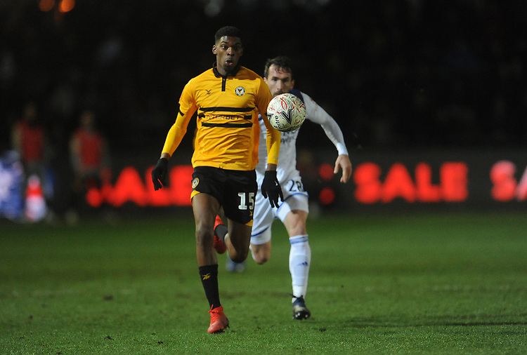 Newport County's Tyreeq Bakinson chases down the long pass <br /> <br /> Photographer Ian Cook/CameraSport<br /> <br /> The Emirates FA Cup Third Round - Newport County v Leicester City - Sunday 6th January 2019 - Rodney Parade - Newport<br />  <br /> World Copyright &copy; 2019 CameraSport. All rights reserved. 43 Linden Ave. Countesthorpe. Leicester. England. LE8 5PG - Tel: +44 (0) 116 277 4147 - admin@camerasport.com - www.camerasport.com