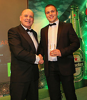 Thursday 10th May 2018 | Ulster Rugby Awards 2018<br /> <br /> Sean O&rsquo;Kane from City of Derry RFC presents the Ken Goodall Award for the Outstanding Club Player of the Year to Matthew Agnew Ballymena Rugby Club, during the 2018 Heineken Ulster Rugby Awards at La Mom Hotel, Belfast. Photo by John Dickson / DICKSONDIGITAL