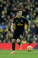 1st December 2019; Carrow Road, Norwich, Norfolk, England, English Premier League Football, Norwich versus Arsenal; Granit Xhaka of Arsenal - Strictly Editorial Use Only. No use with unauthorized audio, video, data, fixture lists, club/league logos or 'live' services. Online in-match use limited to 120 images, no video emulation. No use in betting, games or single club/league/player publications