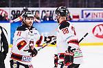 S&ouml;dert&auml;lje 2014-01-06 Ishockey Hockeyallsvenskan S&ouml;dert&auml;lje SK - Malm&ouml; Redhawks :  <br />  Malm&ouml; Redhawks Joey Tenute jublar med Malm&ouml; Redhawks Jens Olsson som passade fram till 1-0 av Malm&ouml; Redhawks Daniel Viksten <br /> (Foto: Kenta J&ouml;nsson) Nyckelord:  jubel gl&auml;dje lycka glad happy