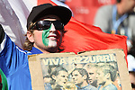 """24 JUN 2010: An Italy fan with a sign reading, """"Viva Azzurra"""", pregame. The Slovakia National Team played the Italy National Team at Ellis Park Stadium in Johannesburg, South Africa in a 2010 FIFA World Cup Group F match."""