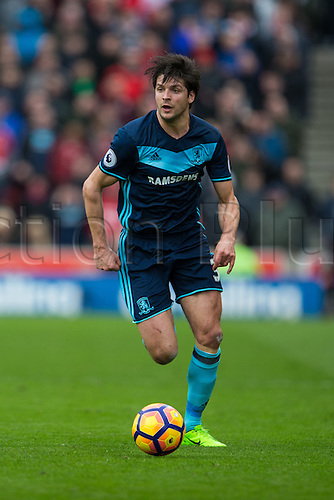 March 4th 2017,  bet365 Stadium, Stoke, England; EPL Premier League football, Stoke City versus Middlesbrough; Middlesbrough's George Friend runs the ball down the wing