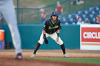 Ji-Hwan Bae (51) of the Ocelotes de Greensboro takes his lead off of first base against the Hickory Crawdads at First National Bank Field on June 11, 2019 in Greensboro, North Carolina. The Crawdads defeated the Ocelotes 2-1. (Brian Westerholt/Four Seam Images)