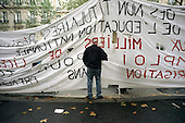 French teachers' banner at a Paris demonstration in protest at public spending cuts.