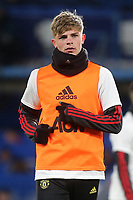 Brandon Williams of Manchester United warms up ahead of kick-off during Chelsea vs Manchester United, Premier League Football at Stamford Bridge on 17th February 2020