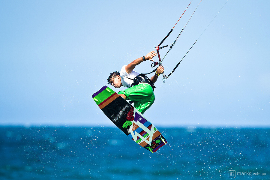 The last leg of the 2010 PKRA World Kiteboarding Tour has come to the Gold Coast, Australia - Reno Romeu from Brazil in action in a round of the single elimination freestyle.